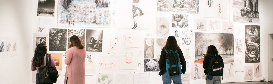 first year exhibition drawing wall (with people)
