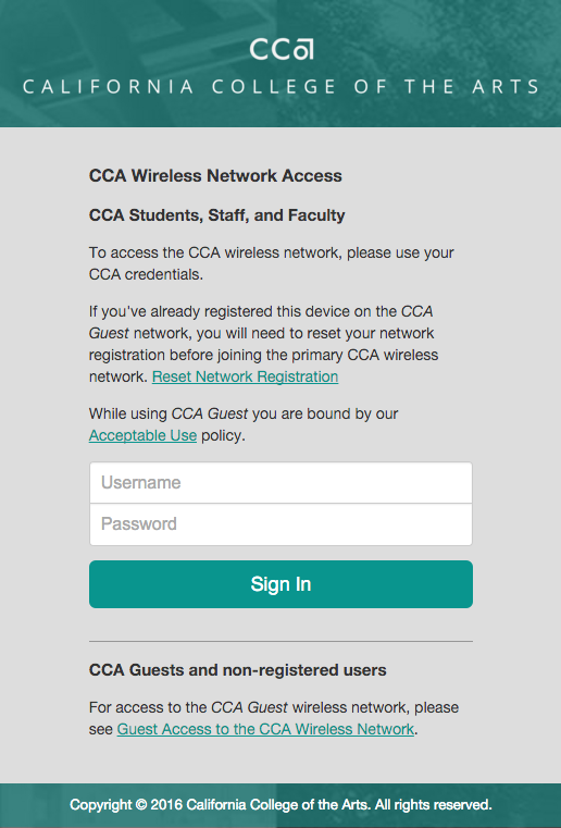 A screenshot of the CCA authentication form.