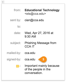 Properly signed email from real cca.edu staff.