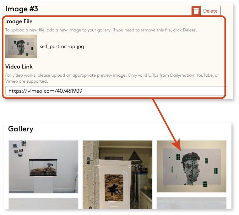 """Video upload form field and published gallery showing the video's """"preview"""" image"""