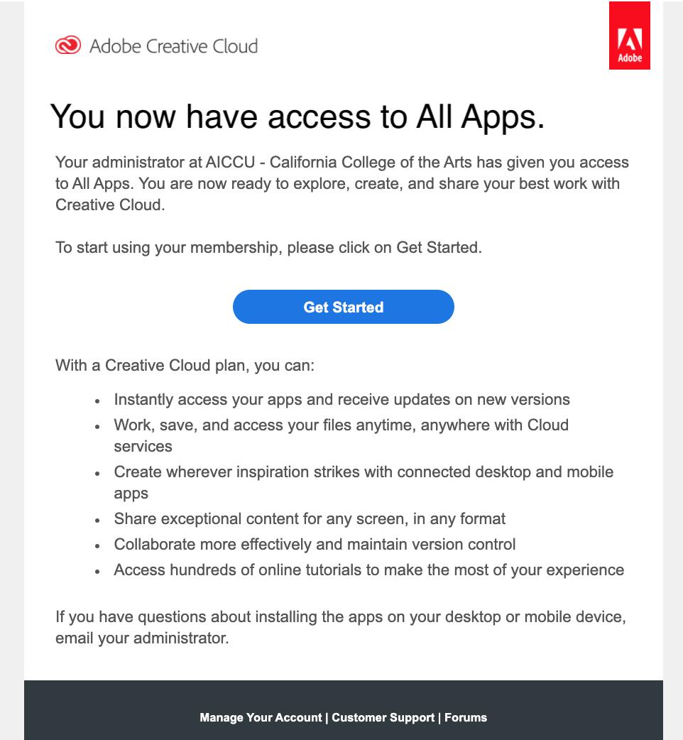 Adobe Creative Cloud invitation email.