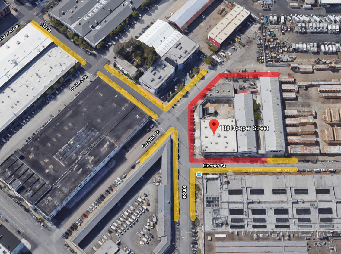 Parking around campus: Yellow areas may have temporary parking closures over the course of the 188 Hooper Street project, red areas are permanent parking closures (until the project is complete in 2020