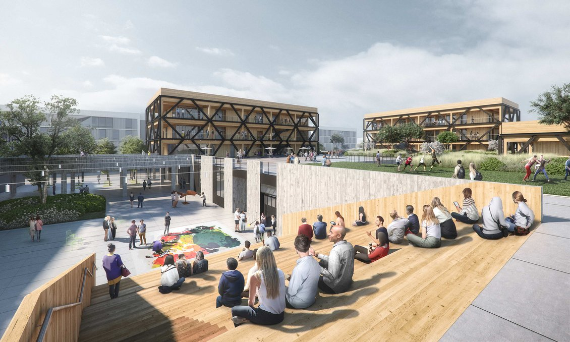 """Studio Gang's design for CCA's new """"double ground"""" campus expansion in San Francisco."""