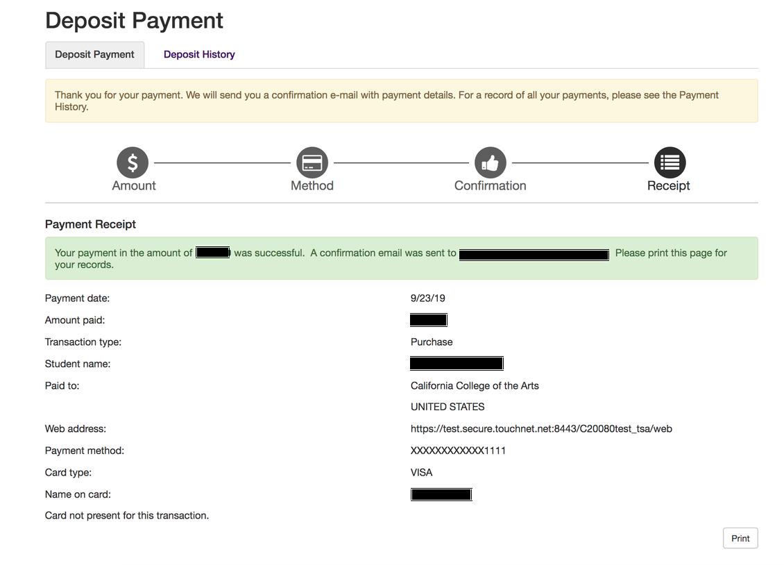 Deposit - Confirmation
