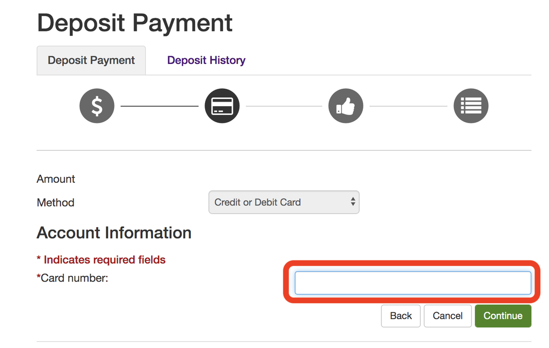 Deposit Payment -credit card