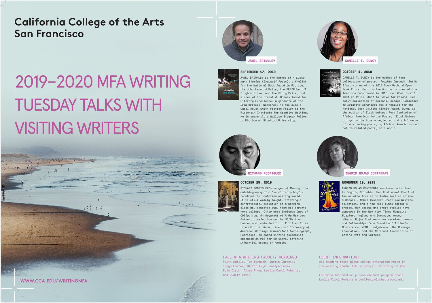 CCA 2019-2020 MFA Writing Tuesday Talks with Visiting Writers_2019_Events_NP