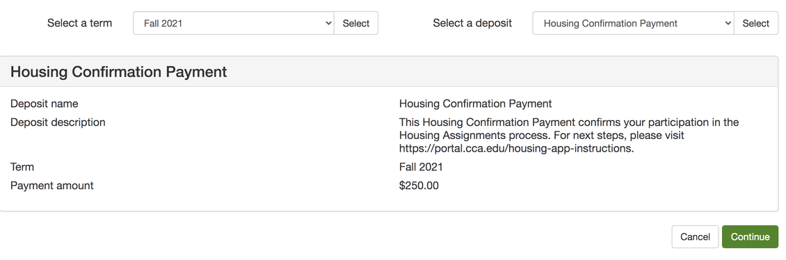 Housing Confirmation Payment Details