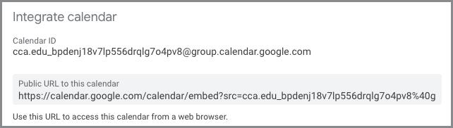 screenshot of calendar ID in settings