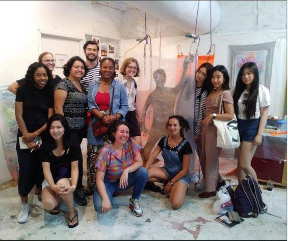 Group of CCA students with artist Leeza Meksin in her studio, summer 2018