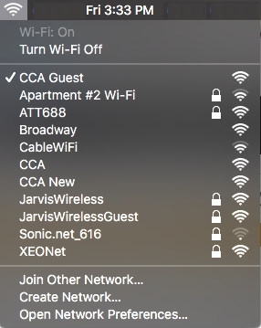 A screenshot of CCA's wireless networks, with CCA Guest selected.