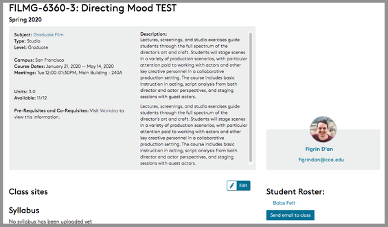 Portal course section page