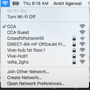 A menu of wireless networks.