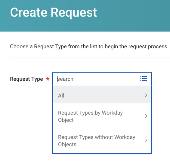 Request Type dropdown