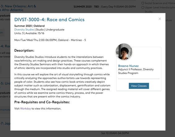 screenshot of a course section page quickview