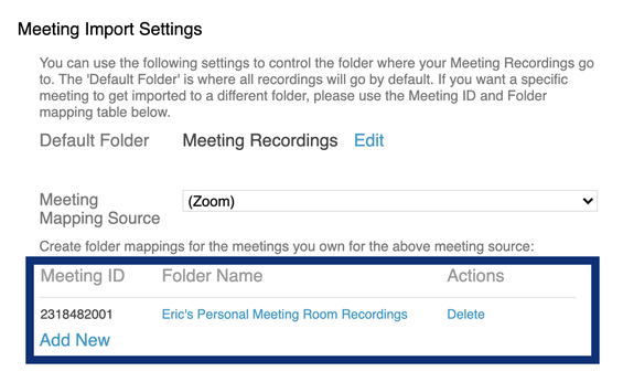 Example of mapping a Zoom meeting to a Panopto folder
