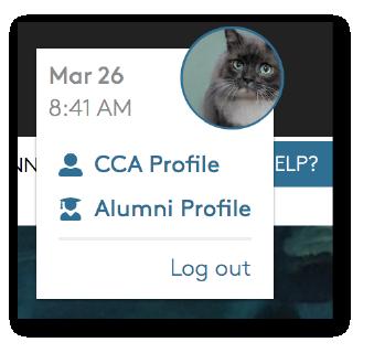 Portal profile dropdown menu for staff who are also alumni