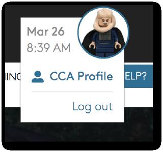 Portal profile dropdown menu for students
