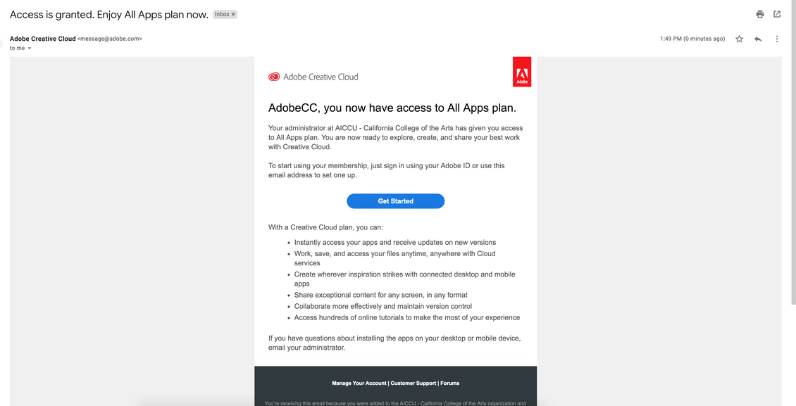 Adobe Creative Cloud invitation email.
