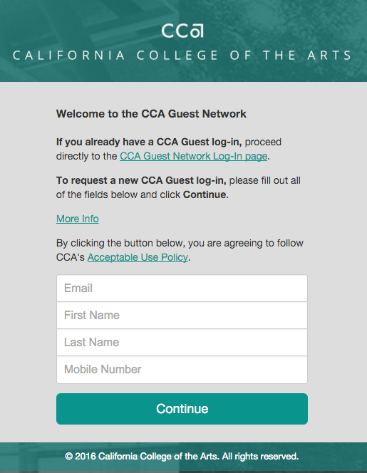 CCA Guest Network Authentication form