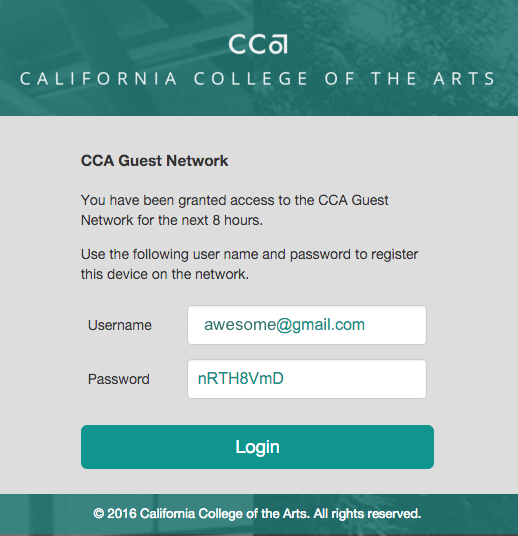 Successful CCA Guest login screen