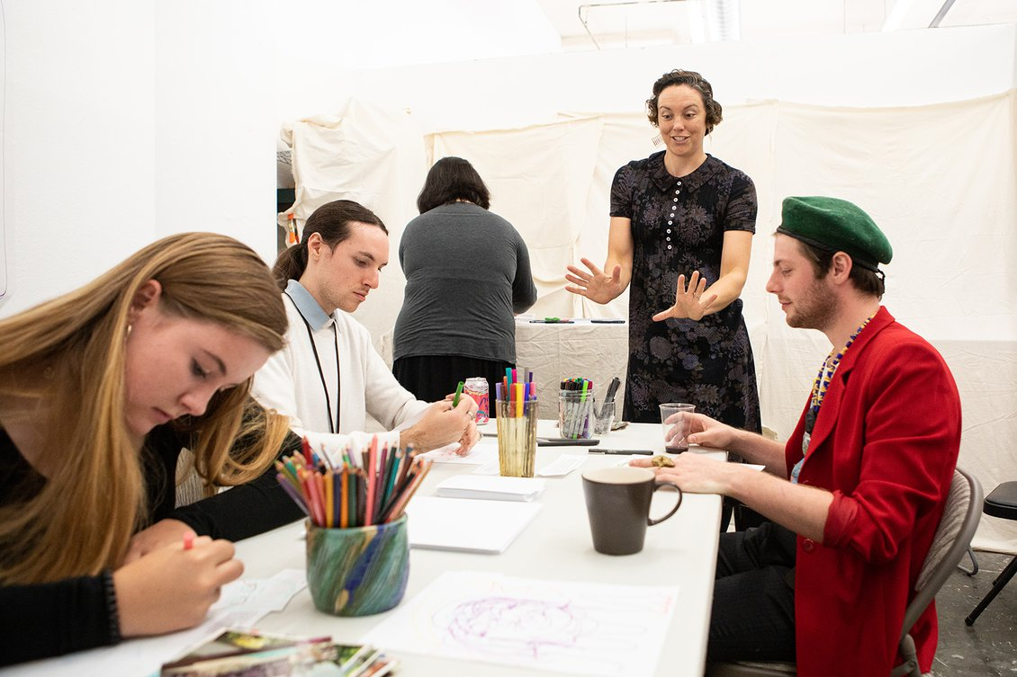 Amanda Larson (MFA 2019) leads a workshop in her studio at Open Studios, fall 2018. Photo by Nicholas Lea Bruno.