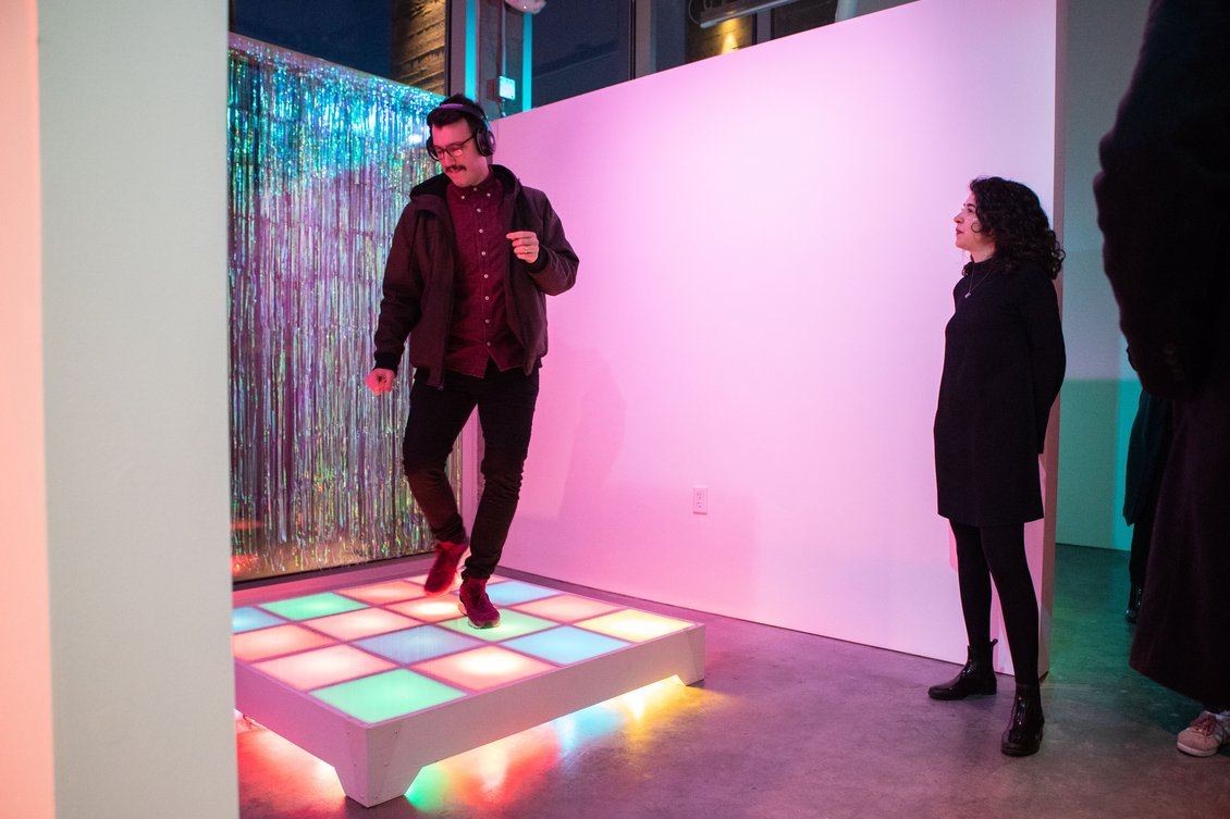 The opening of Discodaze//Side A at PLAySPACE Gallery in spring 2019