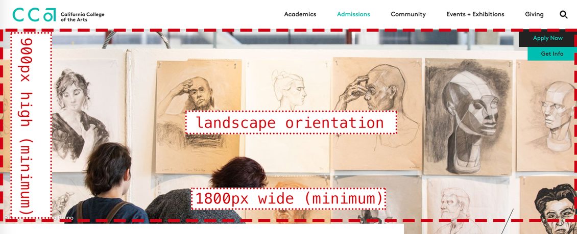 Screenshot of EDU page with hero image and its dimensions
