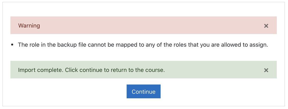 The import error in Moodle.