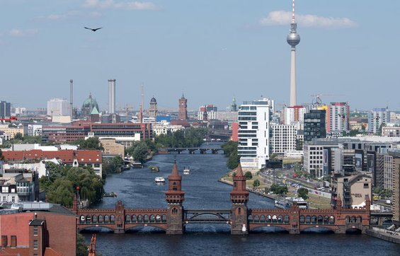 View of the Oberbaumbruecke, a bridge signifying the unity of East and West Berlin  after the wall fell.
