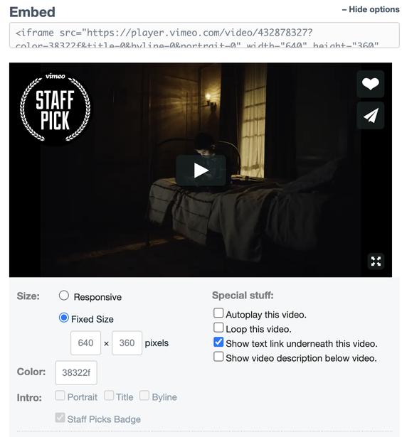 Vimeo's Share menu